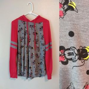 Disney Minnie Mouse Pullover Hoodie 1X Red Gray